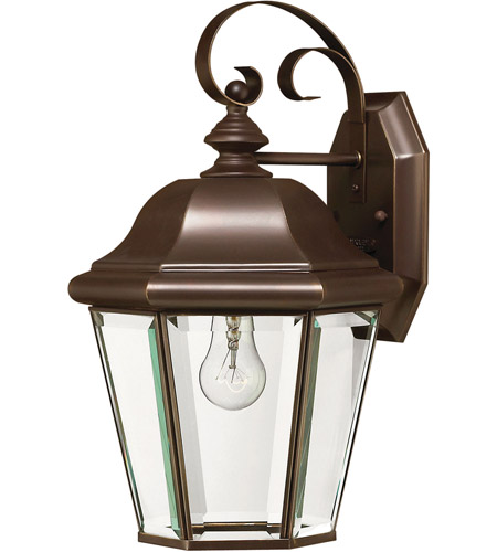 Hinkley 2423CB-LED Clifton Park 1 Light 15 inch Copper Bronze Outdoor Wall in LED, Clear Beveled Glass  photo