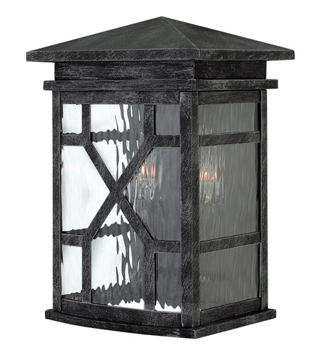 Hinkley 2430GS Clayton 2 Light 13 inch Greystone Outdoor Wall, Clear Water Glass photo