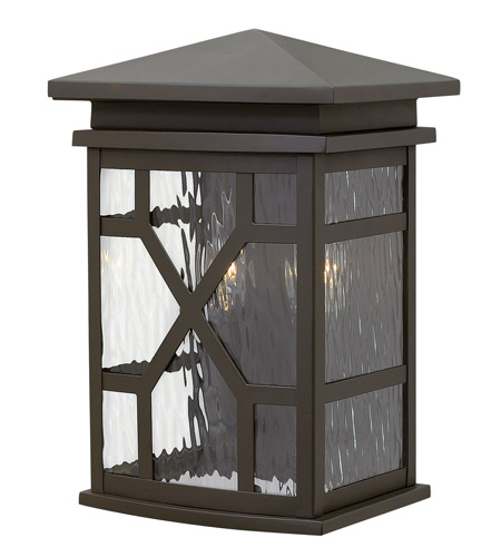 Hinkley 2430OZ Clayton 2 Light 13 inch Oil Rubbed Bronze Outdoor Wall, Clear Water Glass photo