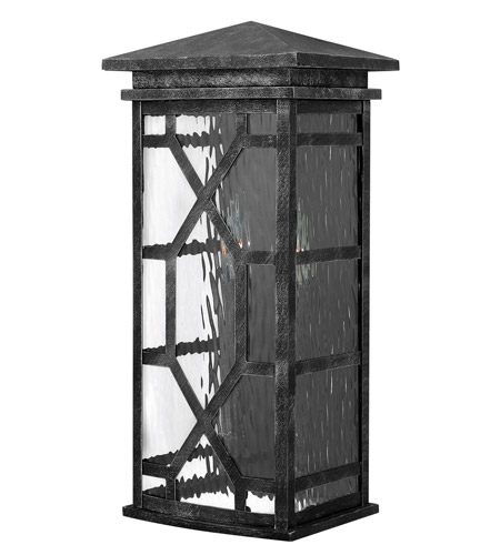 Hinkley 2434GS Clayton 2 Light 19 inch Greystone Outdoor Wall, Clear Water Glass photo