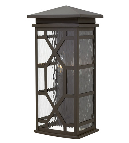 Hinkley 2434OZ Clayton 2 Light 19 inch Oil Rubbed Bronze Outdoor Wall, Clear Water Glass photo