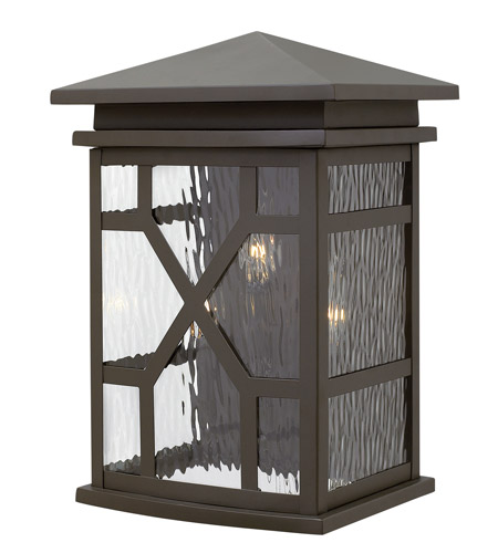 Hinkley 2435OZ Clayton 3 Light 16 inch Oil Rubbed Bronze Outdoor Wall, Clear Water Glass photo