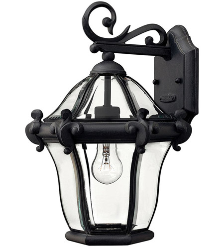 Hinkley Lighting San Clemente 1 Light Outdoor Wall Lantern in Museum Black 2440MB