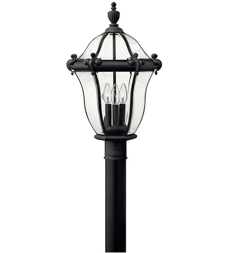 Hinkley 2441MB San Clemente 3 Light 22 inch Museum Black Outdoor Post Mount, Post Sold Separately photo