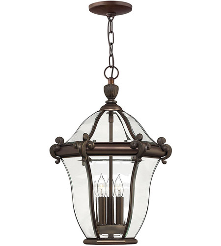 Hinkley Lighting San Clemente 3 Light Outdoor Hanging Lantern in Copper Bronze 2442CB