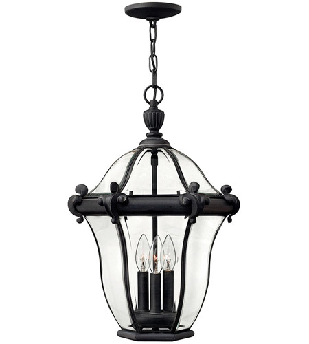 Hinkley 2442MB San Clemente 3 Light 14 inch Museum Black Outdoor Hanging Lantern photo