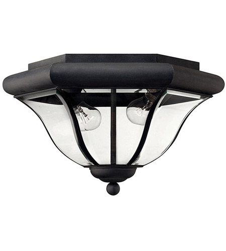 Hinkley Lighting San Clemente 2 Light Outdoor Flush Lantern in Museum Black 2443MB