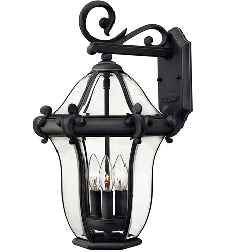 Hinkley Lighting San Clemente 3 Light Outdoor Wall Lantern in Museum Black 2444MB