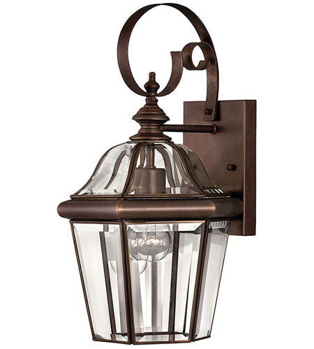 Hinkley Lighting Augusta 1 Light Outdoor Wall Lantern in Copper Bronze 2450CB