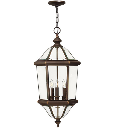 Hinkley Lighting Augusta 3 Light Outdoor Hanging Lantern in Copper Bronze 2452CB
