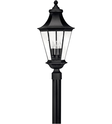 Hinkley 2501BK Senator 3 Light 27 inch Black Outdoor Post Mount, Post Sold Separately photo