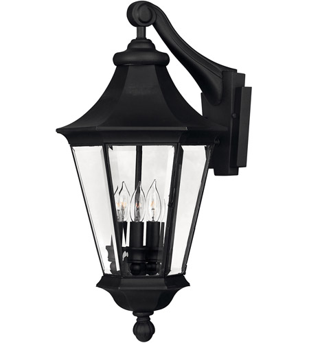Hinkley Lighting Senator 3 Light Outdoor Wall Lantern in Black 2504BK