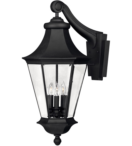 Hinkley Lighting Senator 3 Light Outdoor Wall Lantern in Black 2505BK