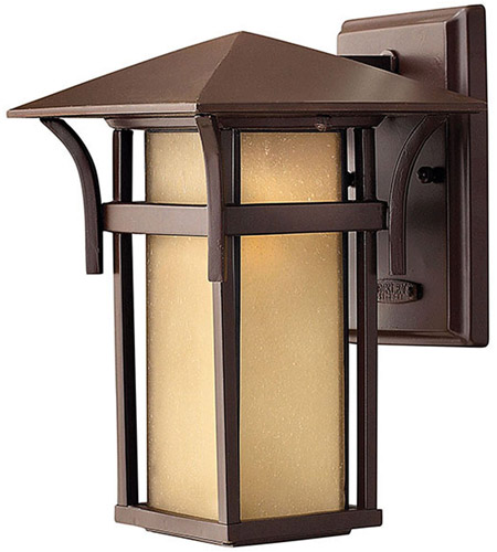 Hinkley 2570AR Harbor 1 Light 11 inch Anchor Bronze Outdoor Wall Mount in Etched Amber Seedy, Incandescent photo
