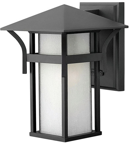 Hinkley 2570SK Harbor 1 Light 11 inch Satin Black Outdoor Wall Lantern in Etched Seedy, Incandescent photo