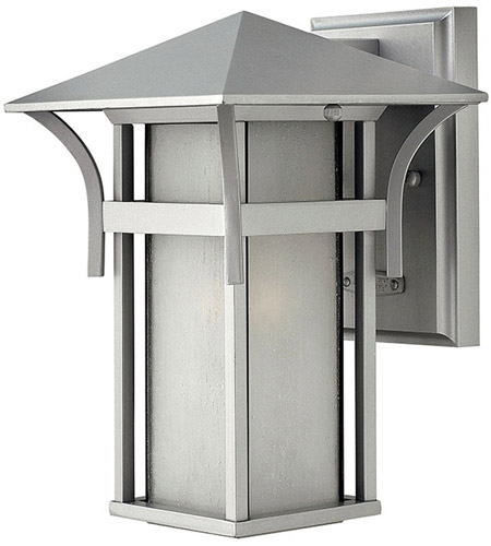 Hinkley 2570TT Harbor 1 Light 11 inch Titanium Outdoor Wall Lantern in Etched Seedy, Incandescent photo