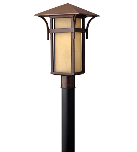 Hinkley 2571AR-GU24 Harbor 1 Light 20 inch Anchor Bronze Post Lantern in Etched Amber Seedy, GU24, Seedy Glass photo