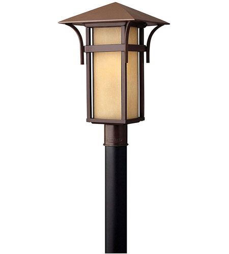 Hinkley 2571AR Harbor 1 Light 20 inch Anchor Bronze Post Lantern in Etched Amber Seedy, Incandescent, Post Sold Separately photo