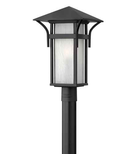 Hinkley 2571SK-GU24 Harbor 1 Light 20 inch Satin Black Post Lantern in Etched Seedy, GU24, Seedy Glass photo