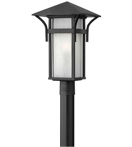 Hinkley 2571SK Harbor 1 Light 20 inch Satin Black Post Lantern in Etched Seedy, Incandescent, Post Sold Separately photo