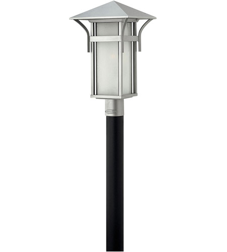 Hinkley 2571TT Harbor 1 Light 20 inch Titanium Outdoor Post Mount in Etched Seedy, Incandescent, Post Sold Separately photo