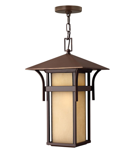 Hinkley 2572AR-GU24 Harbor 1 Light 11 inch Anchor Bronze Outdoor Hanging in Etched Amber Seedy, GU24, Seedy Glass photo