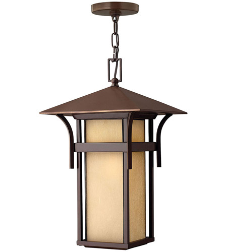 Hinkley 2572AR-LED Harbor LED 11 inch Anchor Bronze Outdoor Hanging Lantern in Etched Amber Seedy photo