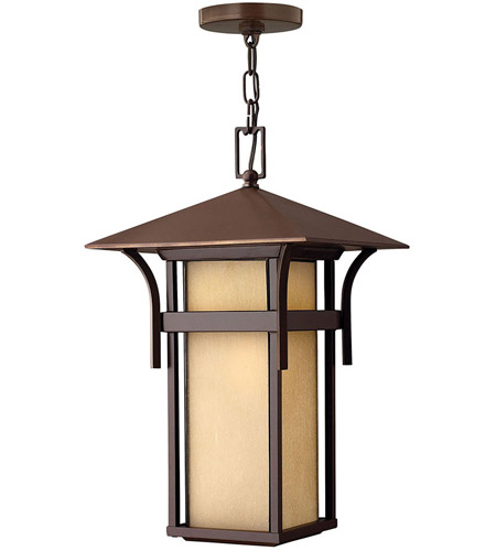 Hinkley 2572AR Harbor 1 Light 11 inch Anchor Bronze Outdoor Hanging Lantern in Etched Amber Seedy, Incandescent photo