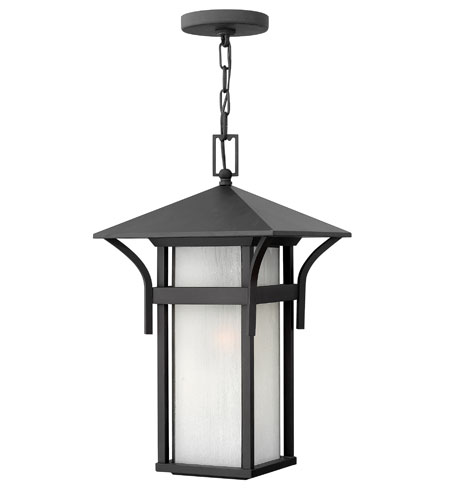 Hinkley Lighting Harbor 1 Light Outdoor Hanging Lantern in Satin Black 2572SK-ES