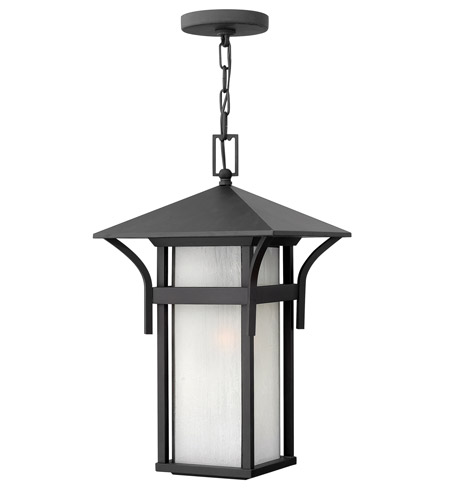 Hinkley 2572SK-GU24 Harbor 1 Light 11 inch Satin Black Outdoor Hanging in Etched Seedy, GU24, Seedy Glass photo