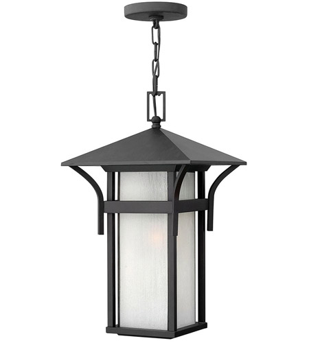 Hinkley 2572SK-LED Harbor LED 11 inch Satin Black Outdoor Hanging Lantern in Etched Seedy photo