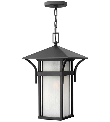 Hinkley 2572SK Harbor 1 Light 11 inch Satin Black Outdoor Hanging Lantern in Etched Seedy, Incandescent photo