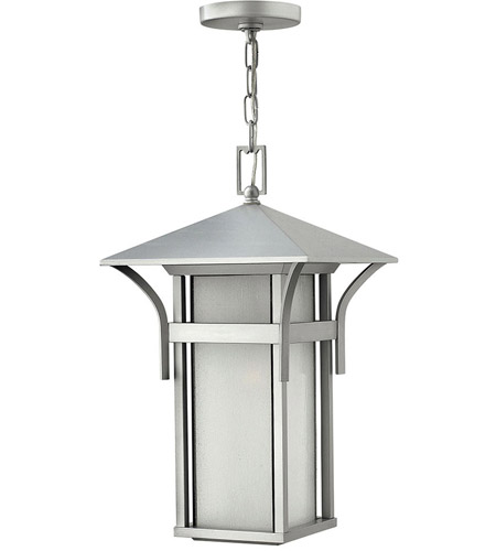 Hinkley 2572TT Harbor 1 Light 11 inch Titanium Outdoor Hanging Lantern in Etched Seedy, Incandescent photo
