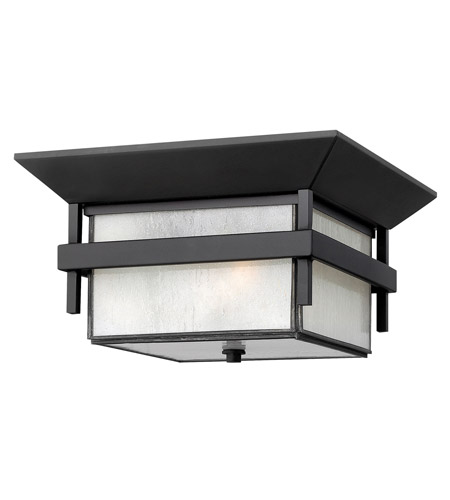 Hinkley 2573SK-GU24 Harbor 1 Light 12 inch Satin Black Outdoor Flush Mount in Etched Seedy, GU24, Seedy Glass photo