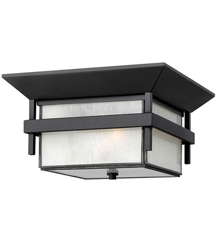 Hinkley 2573SK Harbor 2 Light 12 inch Satin Black Outdoor Flush Lantern in Etched Seedy, Incandescent photo