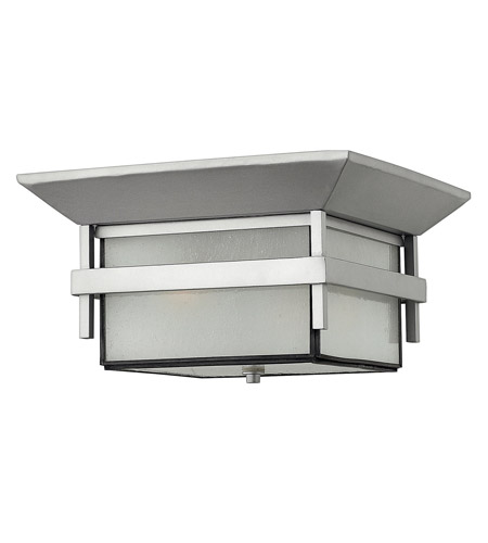 Hinkley 2573TT-GU24 Harbor 1 Light 12 inch Titanium Outdoor Flush Mount in Etched Seedy, GU24, Seedy Glass photo