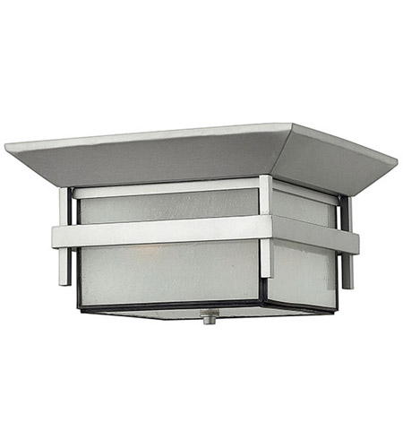 Hinkley 2573TT-LED Harbor LED 12 inch Titanium Outdoor Flush Mount in Etched Seedy, Etched Seedy Bound Glass photo