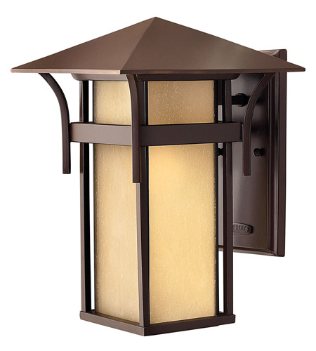 Hinkley 2574AR-GU24 Harbor 1 Light 14 inch Anchor Bronze Outdoor Wall in Etched Amber Seedy, GU24, Seedy Glass photo