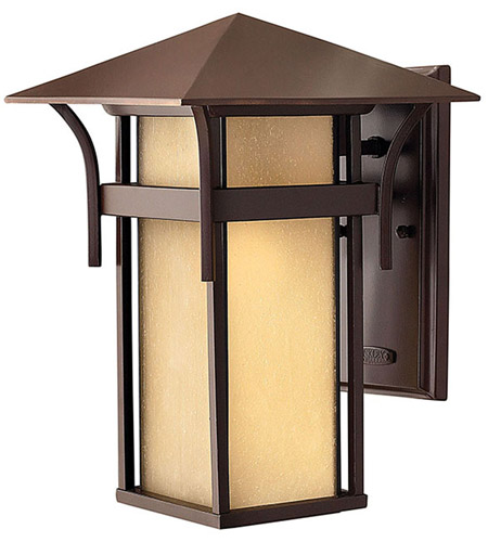 Hinkley 2574AR-LED Harbor LED 14 inch Anchor Bronze Outdoor Wall Lantern in Etched Amber Seedy photo