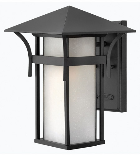 Hinkley 2574SK-GU24 Harbor 1 Light 14 inch Satin Black Outdoor Wall in Etched Seedy, GU24, Seedy Glass photo