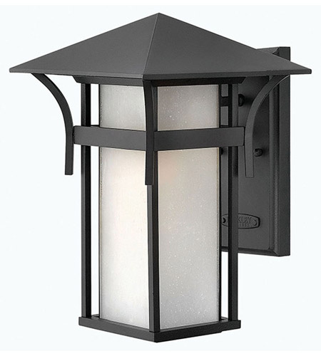Hinkley 2574SK-LED Harbor LED 14 inch Satin Black Outdoor Wall Lantern in Etched Seedy photo