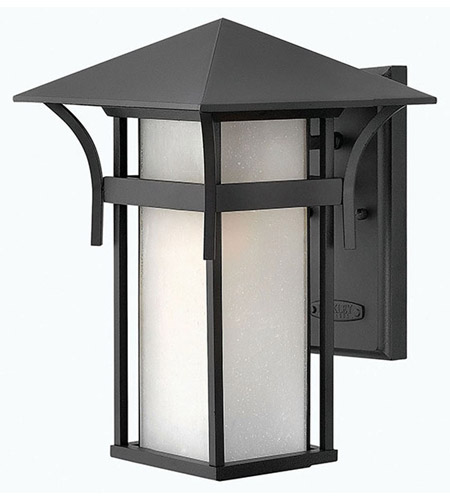 Hinkley 2574SK Harbor 1 Light 14 inch Satin Black Outdoor Wall Lantern in Etched Seedy, Incandescent photo