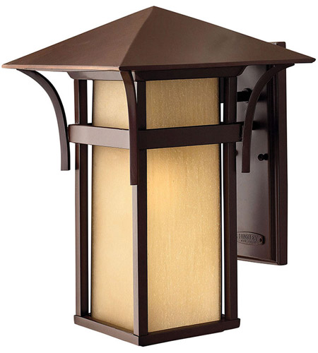 Hinkley 2575AR-LED Harbor LED 16 inch Anchor Bronze Outdoor Wall Lantern in Etched Amber Seedy photo