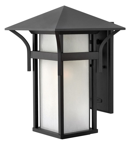 Hinkley 2575SK-GU24 Harbor 1 Light 16 inch Satin Black Outdoor Wall in Etched Seedy, GU24, Seedy Glass photo