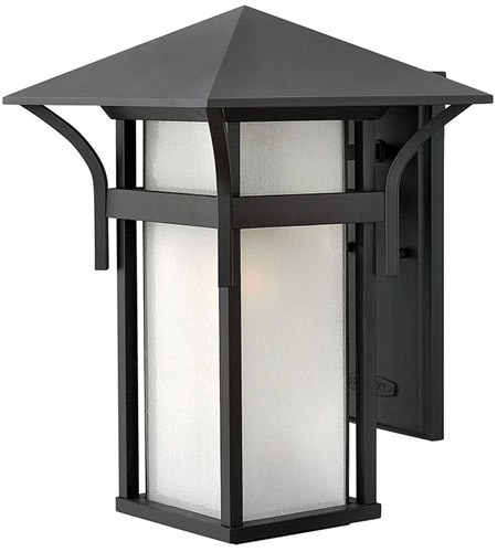 Hinkley 2575SK Harbor 1 Light 16 inch Satin Black Outdoor Wall Lantern in Etched Seedy, Incandescent photo