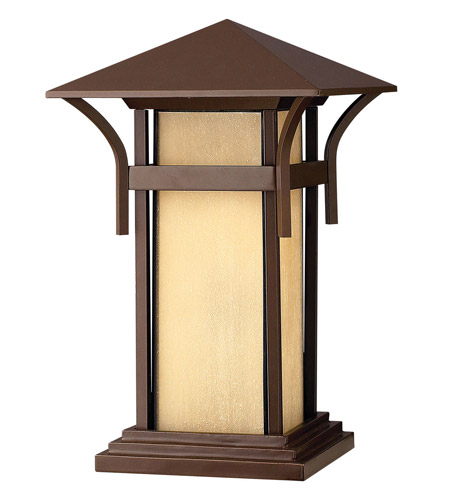 Hinkley 2576AR-GU24 Harbor 1 Light 17 inch Anchor Bronze Pier Mount Lantern in Etched Amber Seedy, GU24, Seedy Glass photo