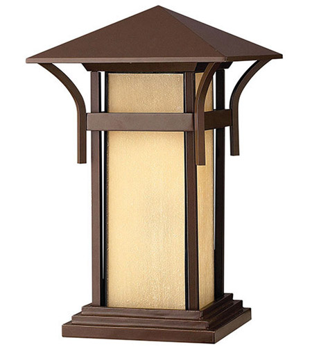 Hinkley 2576AR-LED Harbor 1 Light 17 inch Anchor Bronze Pier Mount Lantern in Etched Amber Seedy, LED, Seedy Glass photo
