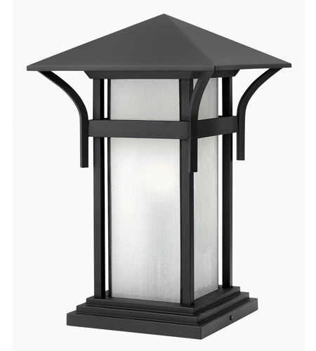 Hinkley 2576SK-GU24 Harbor 1 Light 17 inch Satin Black Pier Mount Lantern in Etched Seedy, GU24, Seedy Glass photo