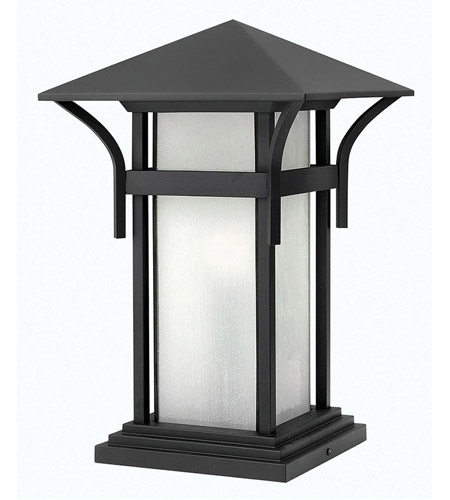 Hinkley 2576SK-LED Harbor 1 Light 17 inch Satin Black Pier Mount Lantern in Etched Seedy, LED, Seedy Glass photo