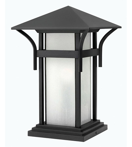 Hinkley 2576SK Harbor 1 Light 17 inch Satin Black Pier Mount Lantern in Etched Seedy, Incandescent photo